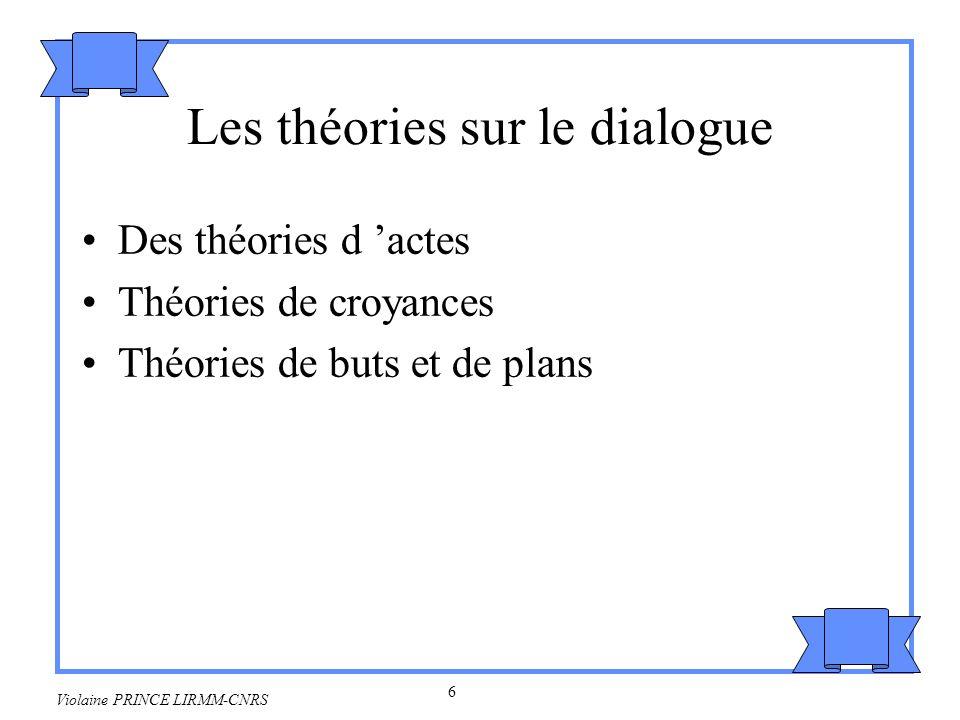 7 Violaine PRINCE LIRMM-CNRS 2.Acte de langage En quel sens dire une chose est-ce la faire .