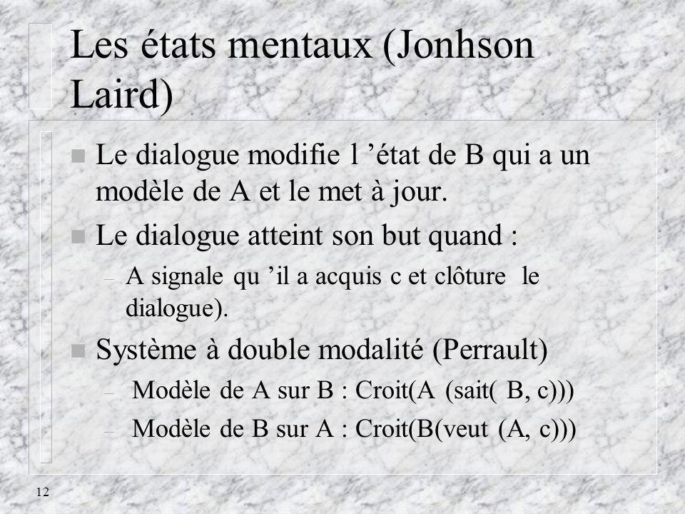 12 Les états mentaux (Jonhson Laird) n Le dialogue modifie l état de B qui a un modèle de A et le met à jour. n Le dialogue atteint son but quand : –