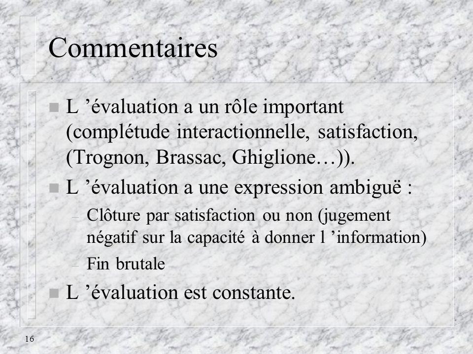16 Commentaires n L évaluation a un rôle important (complétude interactionnelle, satisfaction, (Trognon, Brassac, Ghiglione…)). n L évaluation a une e