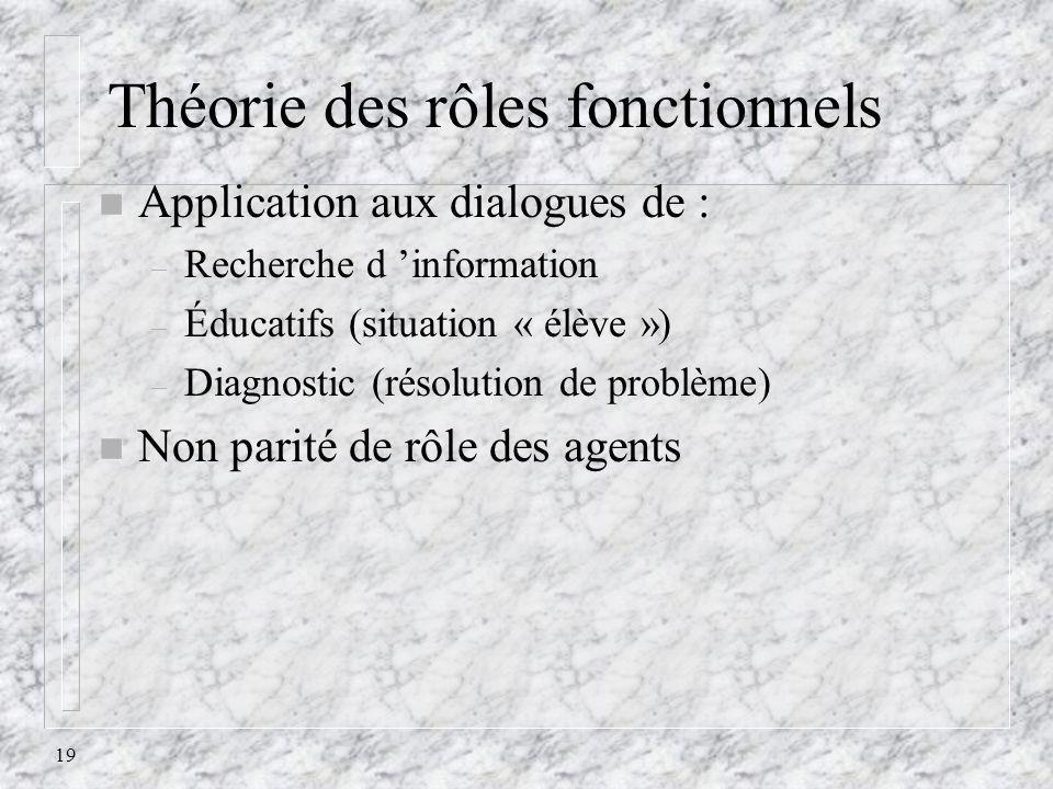 19 Théorie des rôles fonctionnels n Application aux dialogues de : – Recherche d information – Éducatifs (situation « élève ») – Diagnostic (résolutio
