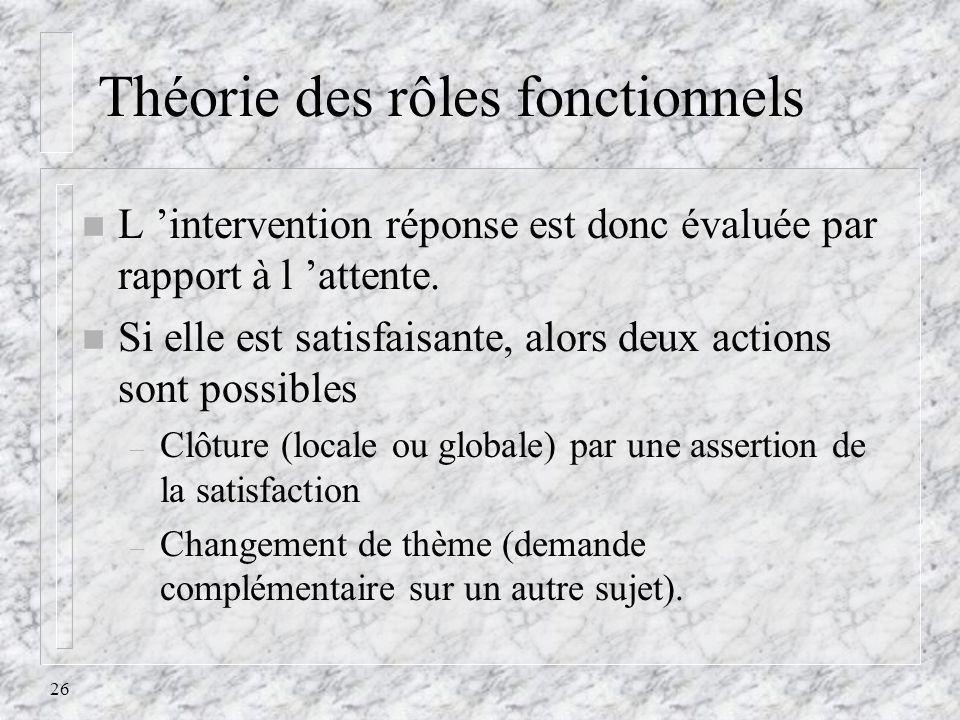 26 Théorie des rôles fonctionnels n L intervention réponse est donc évaluée par rapport à l attente. n Si elle est satisfaisante, alors deux actions s