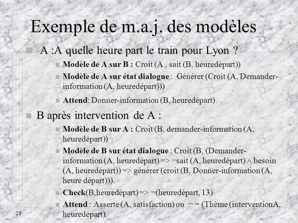 28 Exemple de m.a.j. des modèles n A :A quelle heure part le train pour Lyon ? n Modèle de A sur B : Croit (A, sait (B, heuredépart)) n Modèle de A su