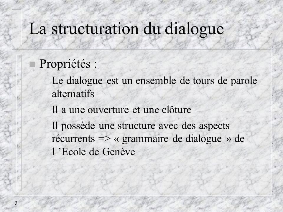 3 La structuration du dialogue n Propriétés : – Le dialogue est un ensemble de tours de parole alternatifs – Il a une ouverture et une clôture – Il po
