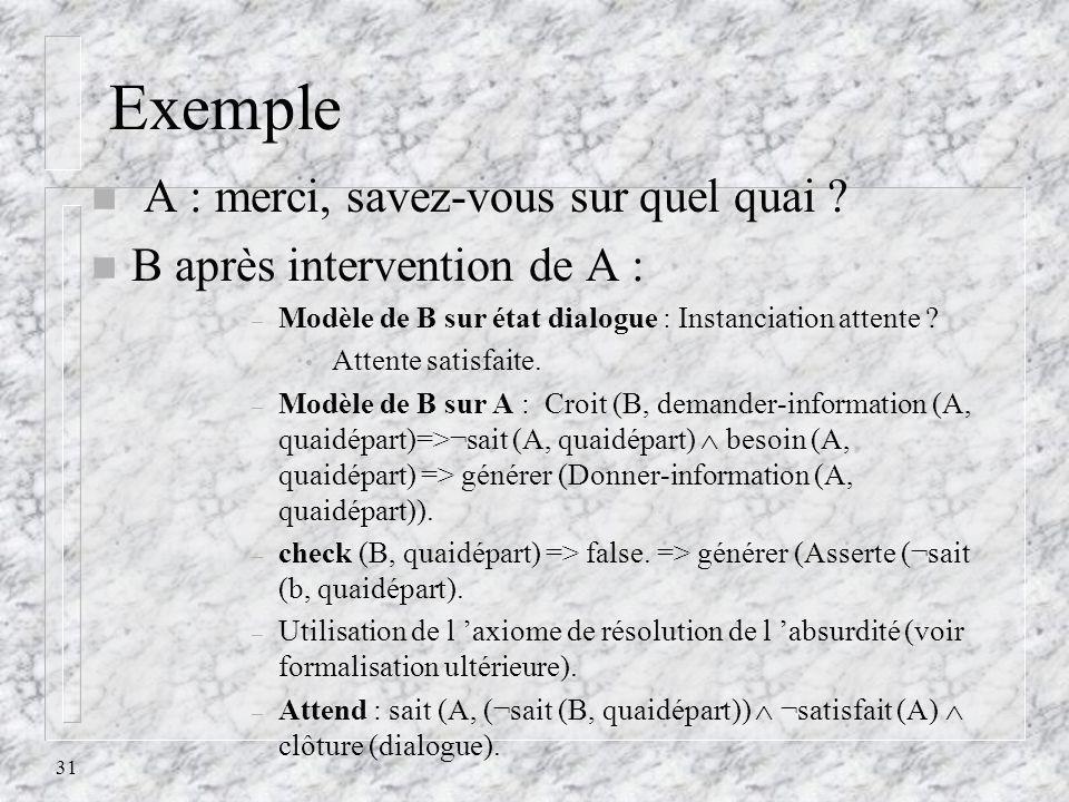 31 Exemple n A : merci, savez-vous sur quel quai ? n B après intervention de A : – Modèle de B sur état dialogue : Instanciation attente ? Attente sat
