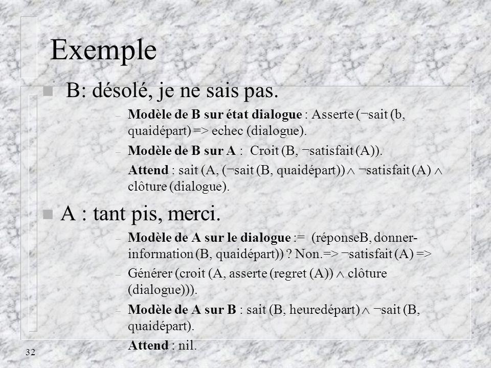 32 Exemple n B: désolé, je ne sais pas. – Modèle de B sur état dialogue : Asserte (¬sait (b, quaidépart) => echec (dialogue). – Modèle de B sur A : Cr