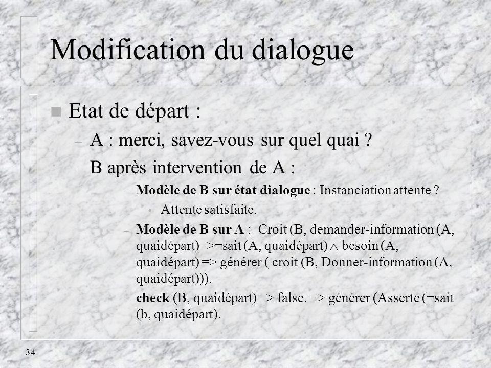 34 Modification du dialogue n Etat de départ : – A : merci, savez-vous sur quel quai ? – B après intervention de A : – Modèle de B sur état dialogue :