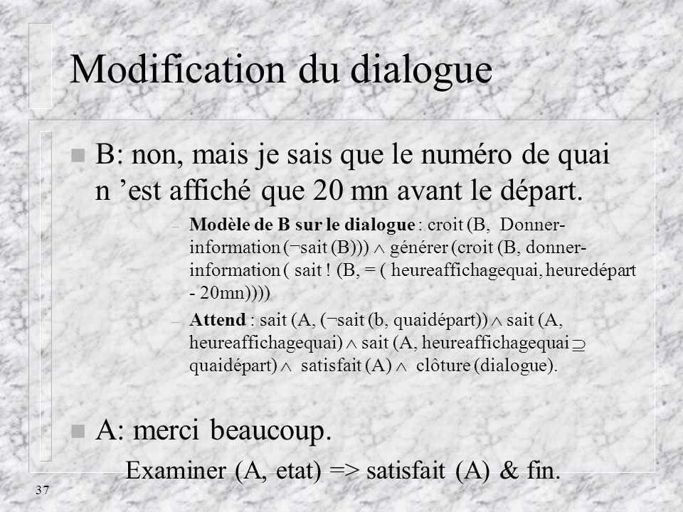 37 Modification du dialogue n B: non, mais je sais que le numéro de quai n est affiché que 20 mn avant le départ. – Modèle de B sur le dialogue : croi