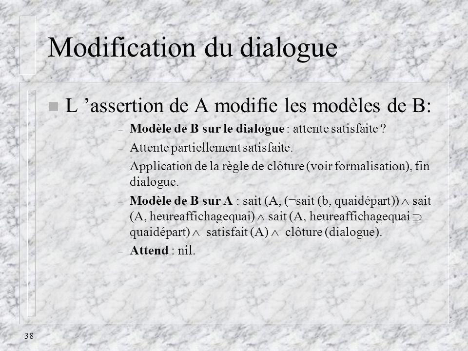 38 Modification du dialogue n L assertion de A modifie les modèles de B: – Modèle de B sur le dialogue : attente satisfaite ? – Attente partiellement