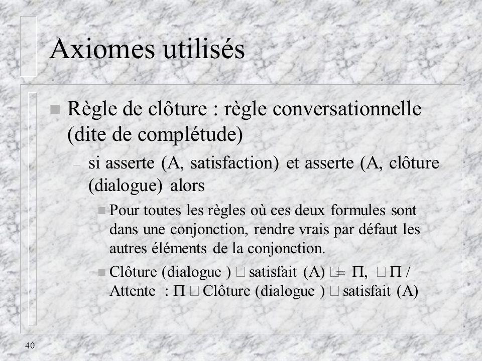 40 Axiomes utilisés n Règle de clôture : règle conversationnelle (dite de complétude) – si asserte (A, satisfaction) et asserte (A, clôture (dialogue)