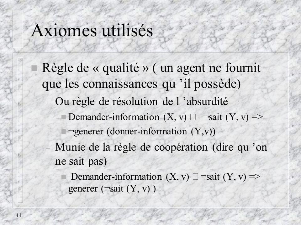41 Axiomes utilisés n Règle de « qualité » ( un agent ne fournit que les connaissances qu il possède) – Ou règle de résolution de l absurdité Demander
