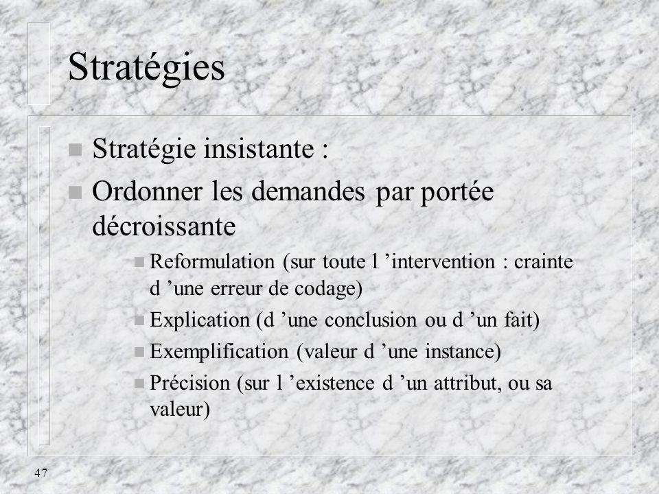 47 Stratégies n Stratégie insistante : n Ordonner les demandes par portée décroissante n Reformulation (sur toute l intervention : crainte d une erreu