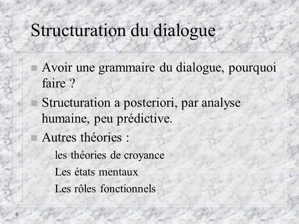 6 Structuration du dialogue n Avoir une grammaire du dialogue, pourquoi faire ? n Structuration a posteriori, par analyse humaine, peu prédictive. n A