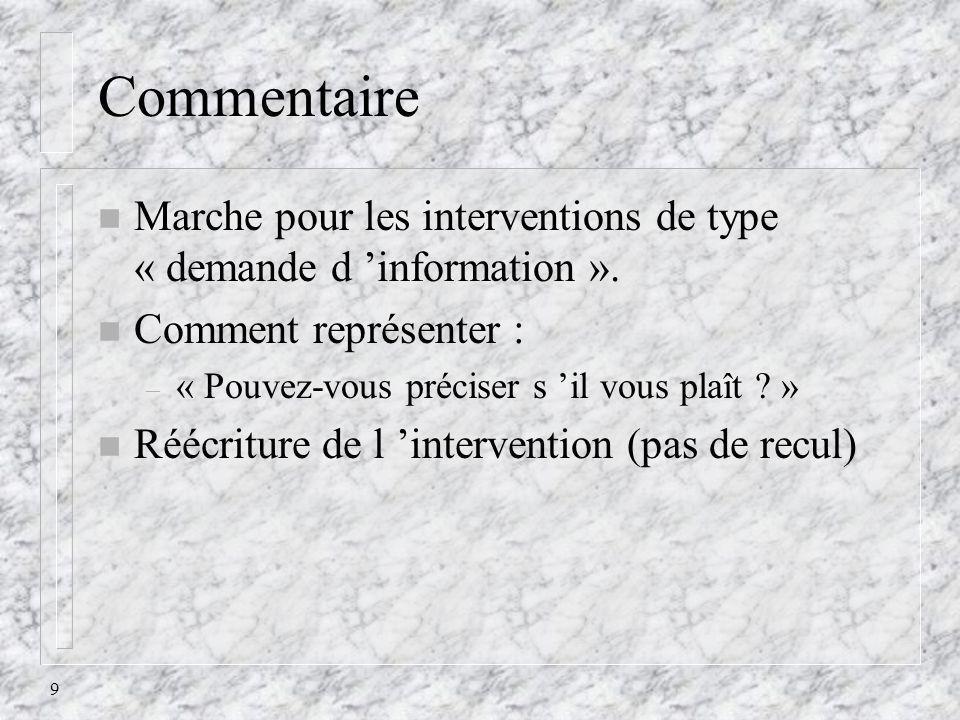 9 Commentaire n Marche pour les interventions de type « demande d information ». n Comment représenter : – « Pouvez-vous préciser s il vous plaît ? »