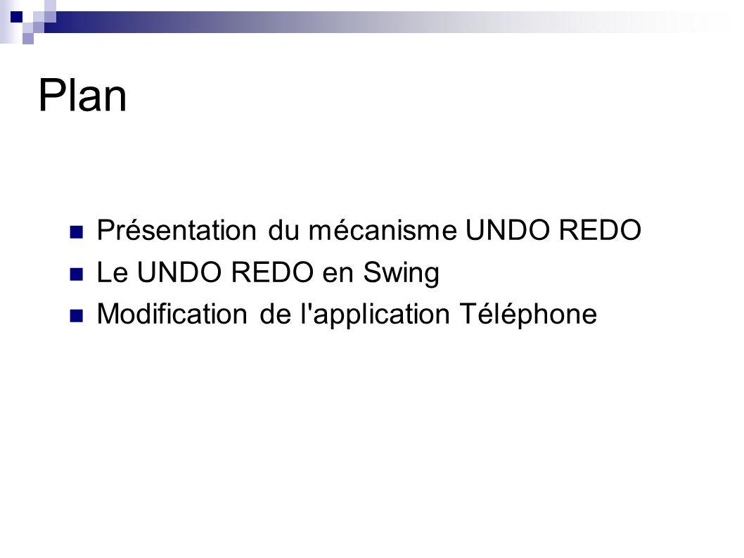 Plan Présentation du mécanisme UNDO REDO Le UNDO REDO en Swing Modification de l application Téléphone