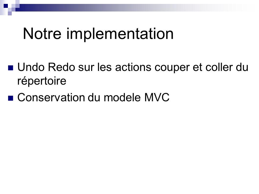 Notre implementation Classes AddEdit et RemoveEdit Extends AbstractUndoableEdit Redefinition des methodes undo(), redo(), canUndo(), canRedo() Classes ActionUndo, ActionRedo Extends AbstractAction Classe UndoAdapter Implements UndoableEditListener Modification de la classe Repertoire