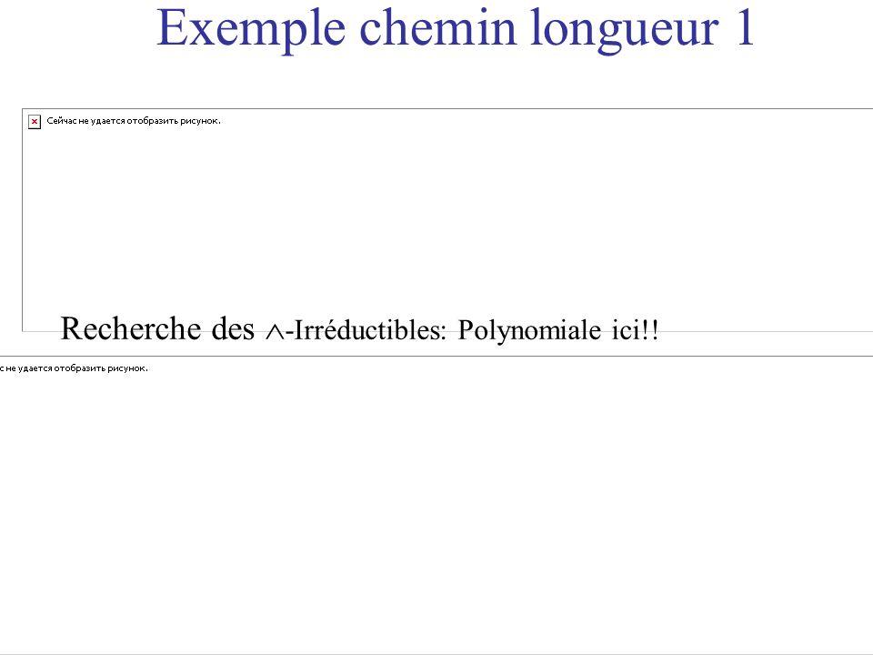Exemple chemin longueur 1 Recherche des -Irréductibles: Polynomiale ici!!