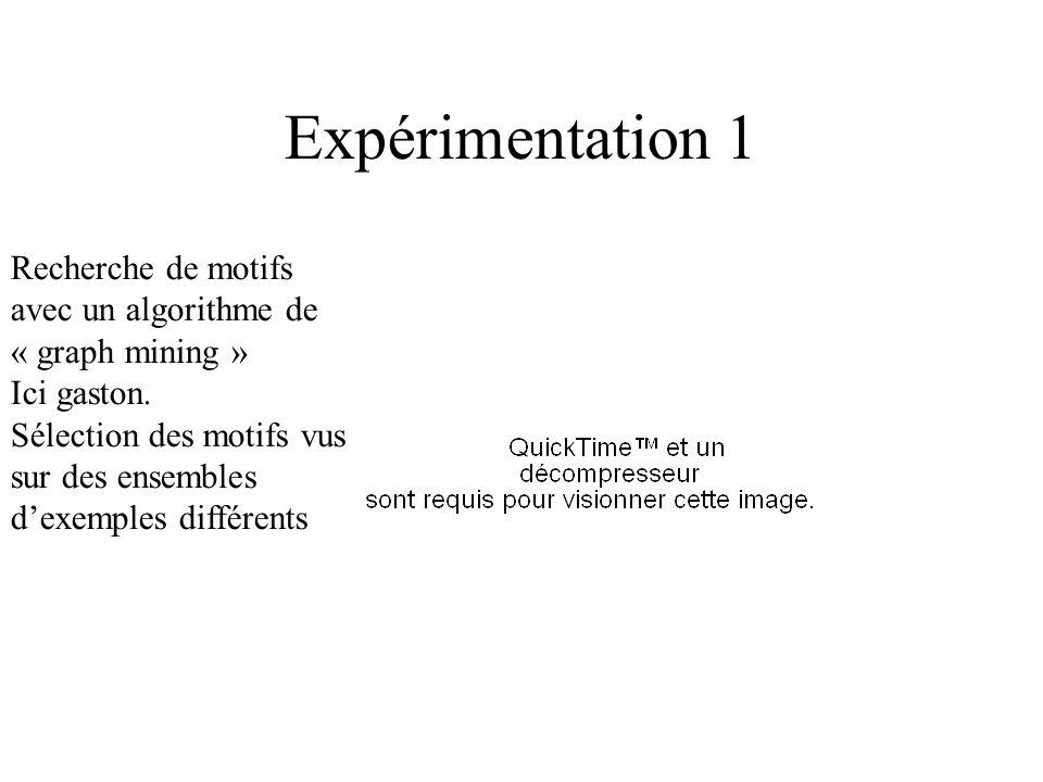 Expérimentation 1 Recherche de motifs avec un algorithme de « graph mining » Ici gaston. Sélection des motifs vus sur des ensembles dexemples différen