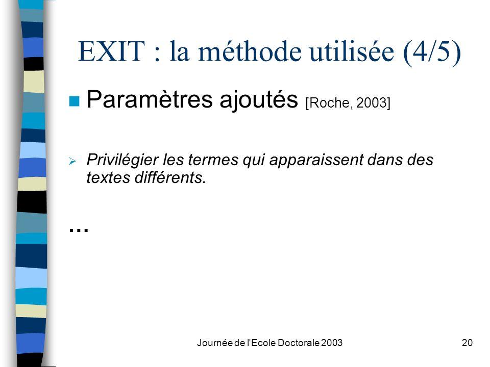 Journée de l'Ecole Doctorale 200320 EXIT : la méthode utilisée (4/5) n Paramètres ajoutés [Roche, 2003] Privilégier les termes qui apparaissent dans d