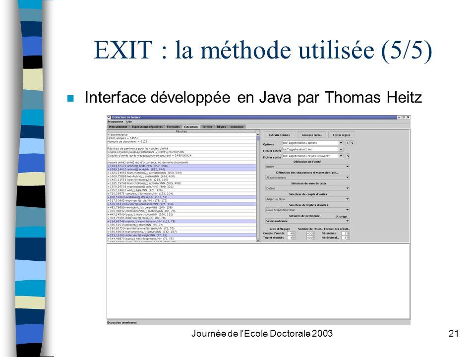 Journée de l'Ecole Doctorale 200321 EXIT : la méthode utilisée (5/5) n Interface développée en Java par Thomas Heitz