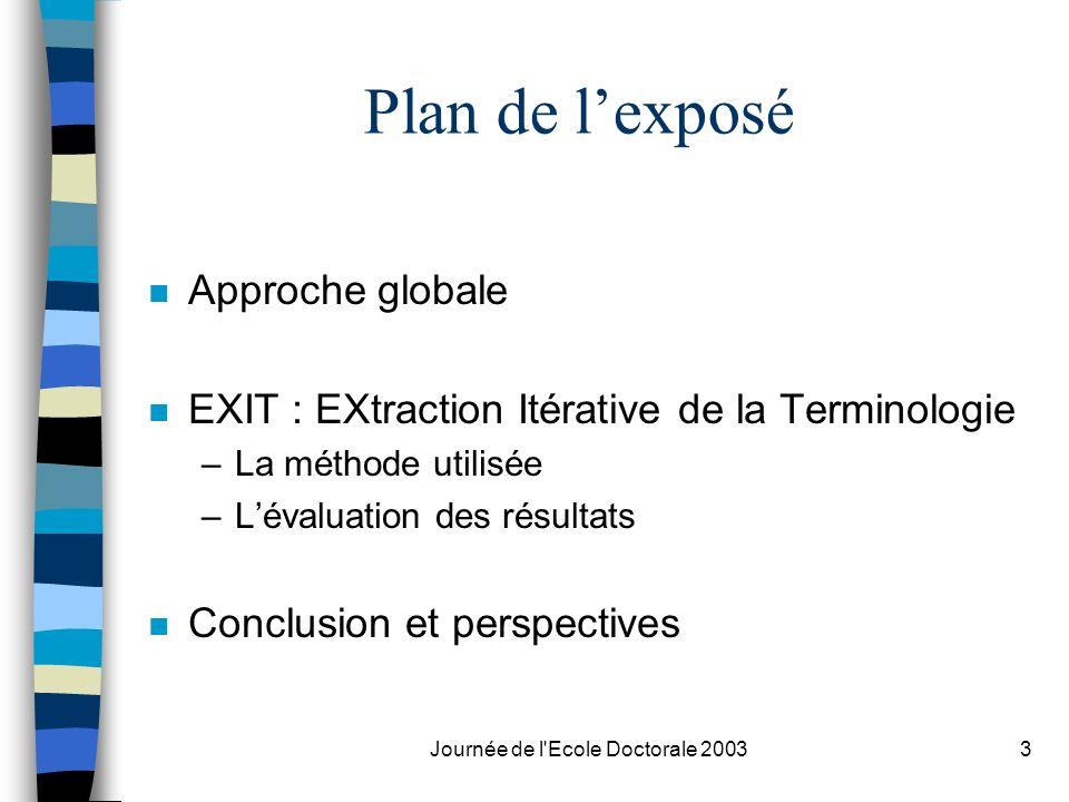 Journée de l'Ecole Doctorale 20033 Plan de lexposé n Approche globale n EXIT : EXtraction Itérative de la Terminologie –La méthode utilisée –Lévaluati