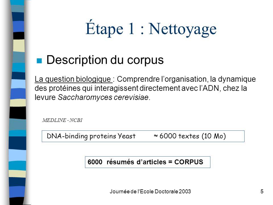 Journée de l'Ecole Doctorale 20035 Étape 1 : Nettoyage n Description du corpus La question biologique : Comprendre lorganisation, la dynamique des pro
