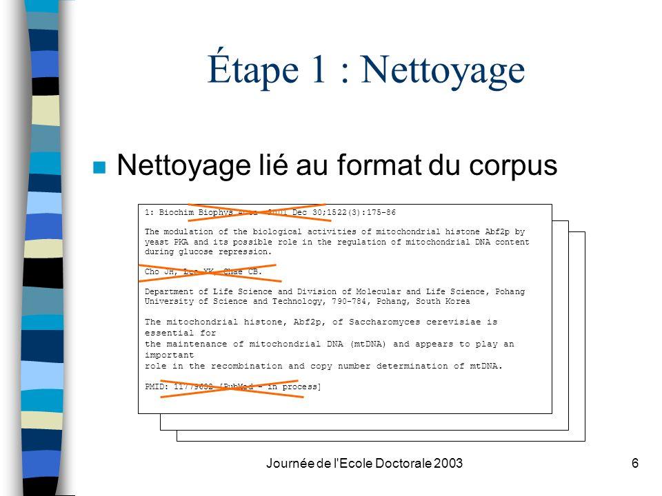 Journée de l'Ecole Doctorale 20036 Étape 1 : Nettoyage n Nettoyage lié au format du corpus 1: Biochim Biophys Acta 2001 Dec 30;1522(3):175-86 The modu