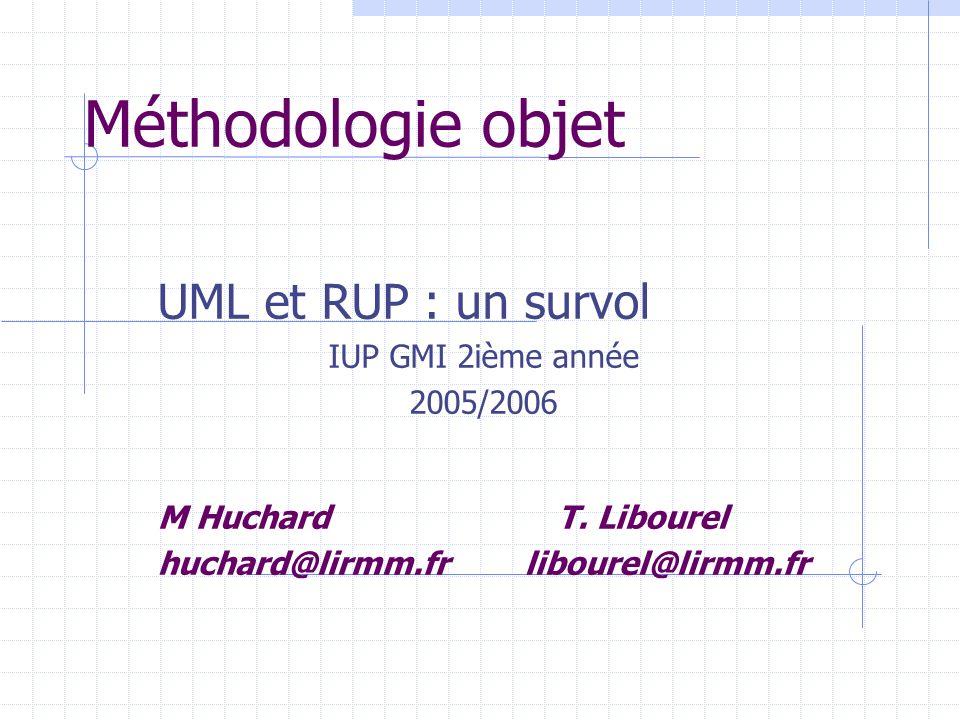 Méthodologie objet UML et RUP : un survol IUP GMI 2ième année 2005/2006 M HuchardT. Libourel huchard@lirmm.fr libourel@lirmm.fr