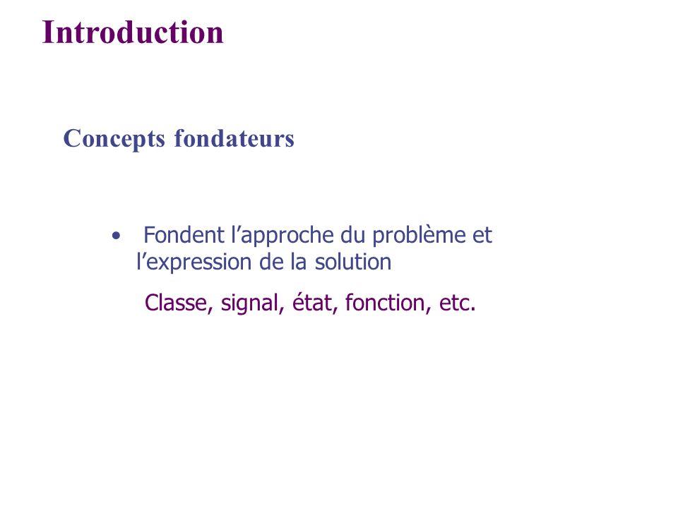 Introduction Concepts fondateurs Fondent lapproche du problème et lexpression de la solution Classe, signal, état, fonction, etc.