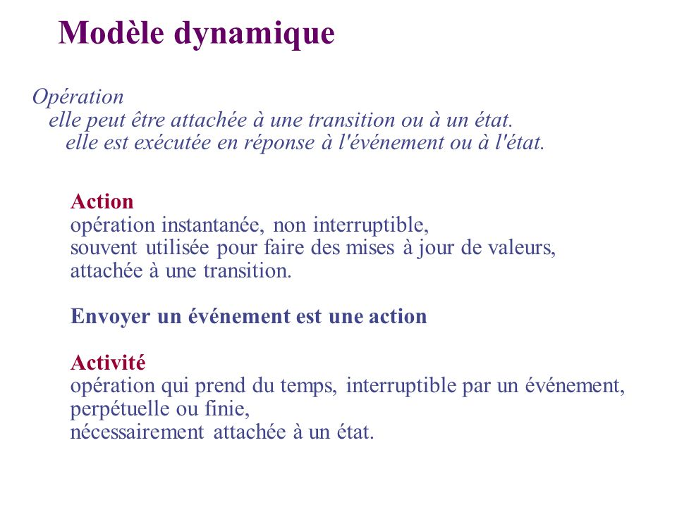 Action opération instantanée, non interruptible, souvent utilisée pour faire des mises à jour de valeurs, attachée à une transition. Envoyer un événem