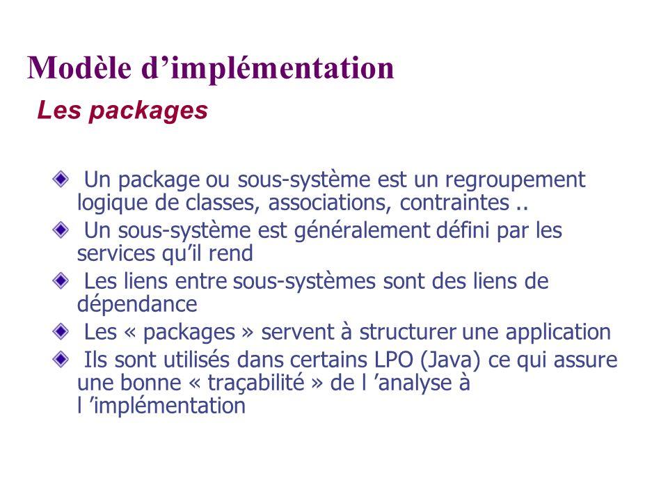 Les packages Modèle dimplémentation Un package ou sous-système est un regroupement logique de classes, associations, contraintes.. Un sous-système est