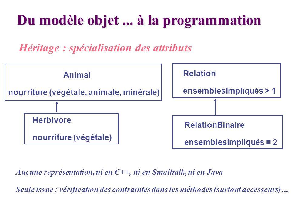Du modèle objet... à la programmation Héritage : spécialisation des attributs Animal nourriture (végétale, animale, minérale) Herbivore nourriture (vé