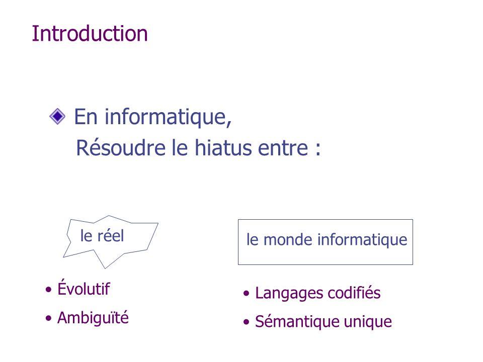 Introduction En informatique, Résoudre le hiatus entre : le réel le monde informatique Évolutif Ambiguïté Langages codifiés Sémantique unique