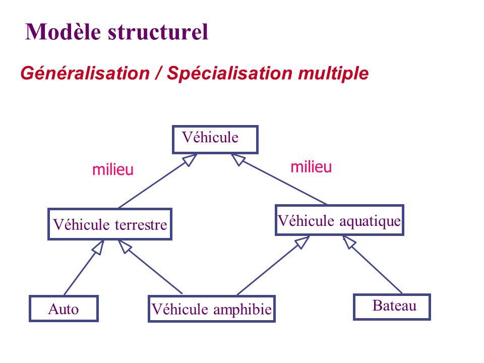 Modèle structurel Généralisation / Spécialisation multiple Véhicule terrestre Véhicule aquatique Auto Véhicule amphibie Bateau Véhicule milieu