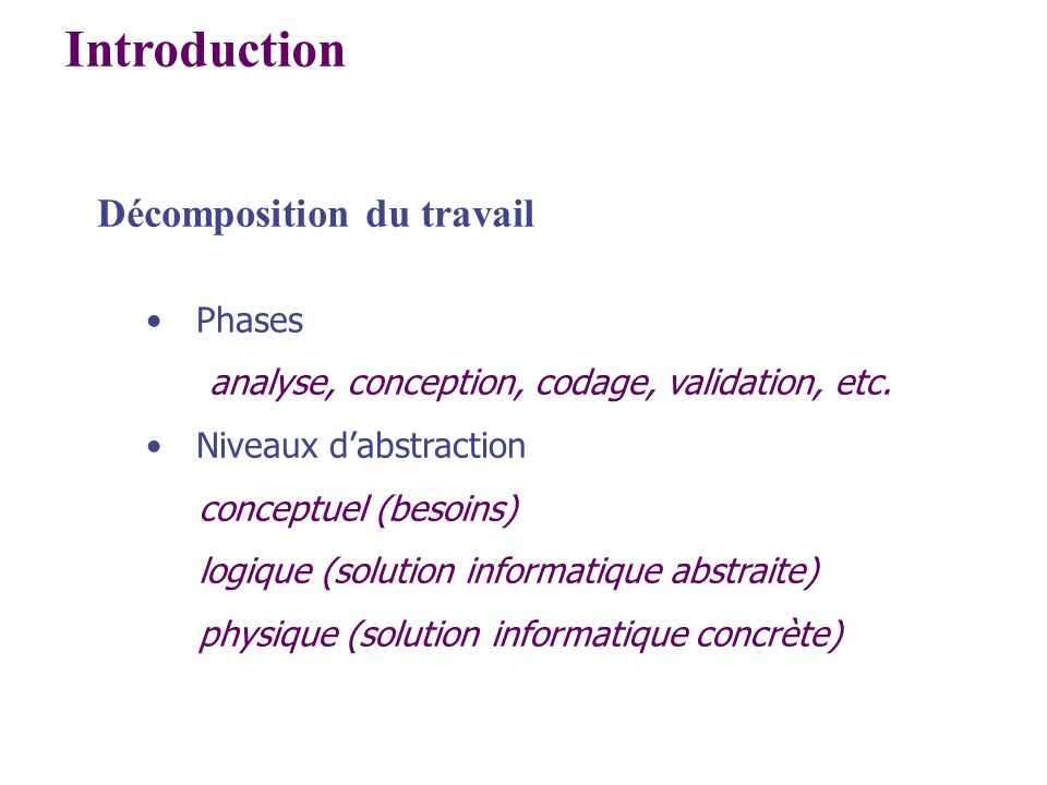 Introduction Décomposition du travail Phases analyse, conception, codage, validation, etc. Niveaux dabstraction conceptuel (besoins) logique (solution
