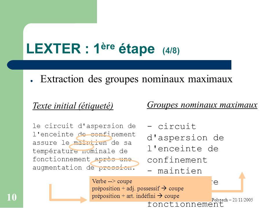 Cours FdT – Polytech – 21/11/2005 10 LEXTER : 1 ère étape (4/8) Extraction des groupes nominaux maximaux Texte initial (étiqueté) le circuit d aspersion de l enceinte de confinement assure le maintien de sa température nominale de fonctionnement après une augmentation de pression.