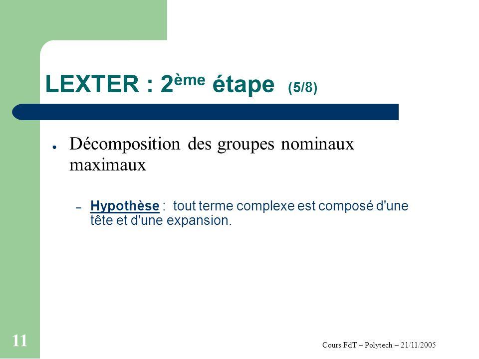 Cours FdT – Polytech – 21/11/2005 11 LEXTER : 2 ème étape (5/8) Décomposition des groupes nominaux maximaux – Hypothèse : tout terme complexe est composé d une tête et d une expansion.
