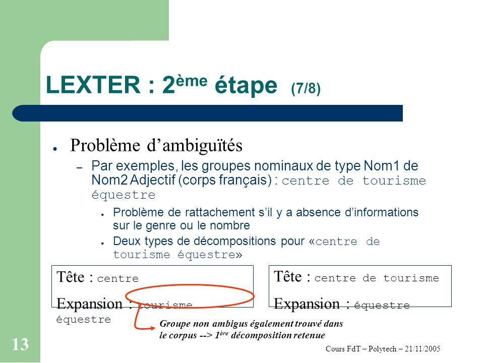 Cours FdT – Polytech – 21/11/2005 13 LEXTER : 2 ème étape (7/8) Problème dambiguïtés – Par exemples, les groupes nominaux de type Nom1 de Nom2 Adjecti