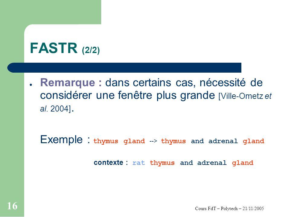 Cours FdT – Polytech – 21/11/2005 16 FASTR (2/2) Remarque : dans certains cas, nécessité de considérer une fenêtre plus grande [Ville-Ometz et al.