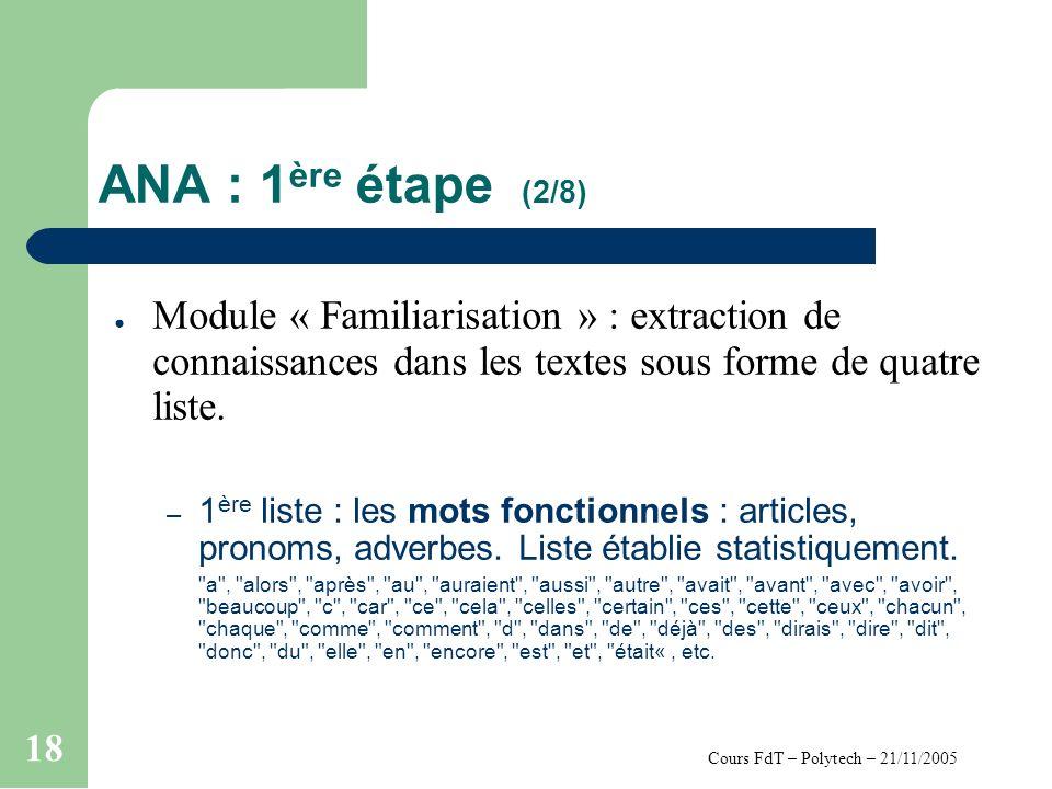 Cours FdT – Polytech – 21/11/2005 18 ANA : 1 ère étape (2/8) Module « Familiarisation » : extraction de connaissances dans les textes sous forme de quatre liste.