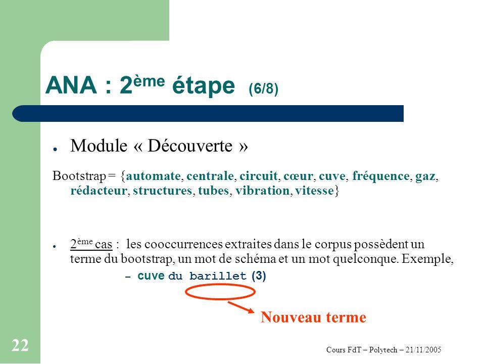 Cours FdT – Polytech – 21/11/2005 22 ANA : 2 ème étape (6/8) Module « Découverte » Bootstrap = {automate, centrale, circuit, cœur, cuve, fréquence, gaz, rédacteur, structures, tubes, vibration, vitesse} 2 ème cas : les cooccurrences extraites dans le corpus possèdent un terme du bootstrap, un mot de schéma et un mot quelconque.