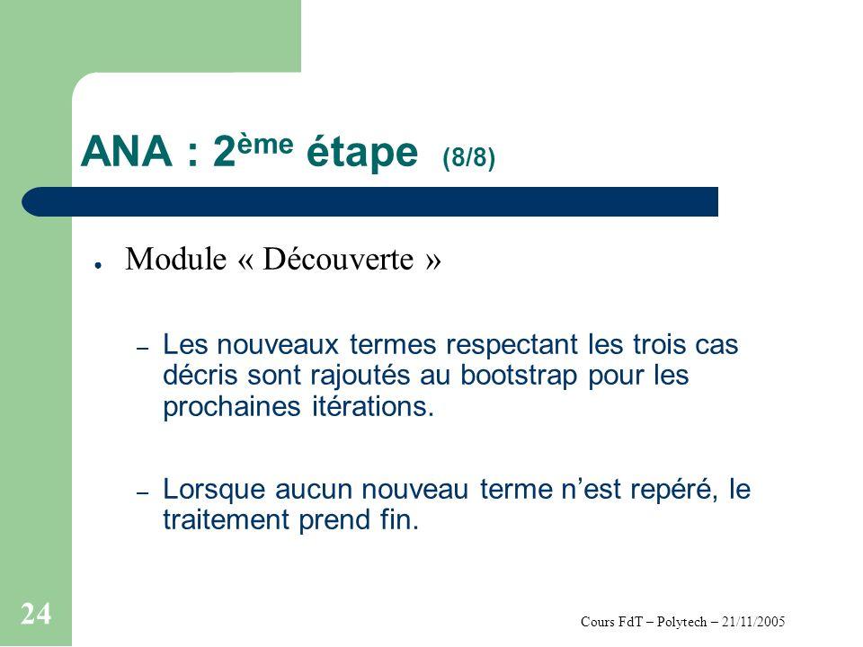 Cours FdT – Polytech – 21/11/2005 24 ANA : 2 ème étape (8/8) Module « Découverte » – Les nouveaux termes respectant les trois cas décris sont rajoutés au bootstrap pour les prochaines itérations.