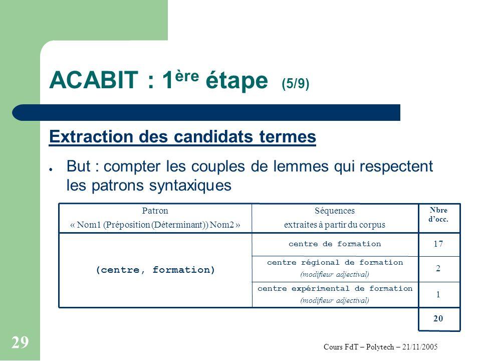 Cours FdT – Polytech – 21/11/2005 29 ACABIT : 1 ère étape (5/9) Extraction des candidats termes But : compter les couples de lemmes qui respectent les