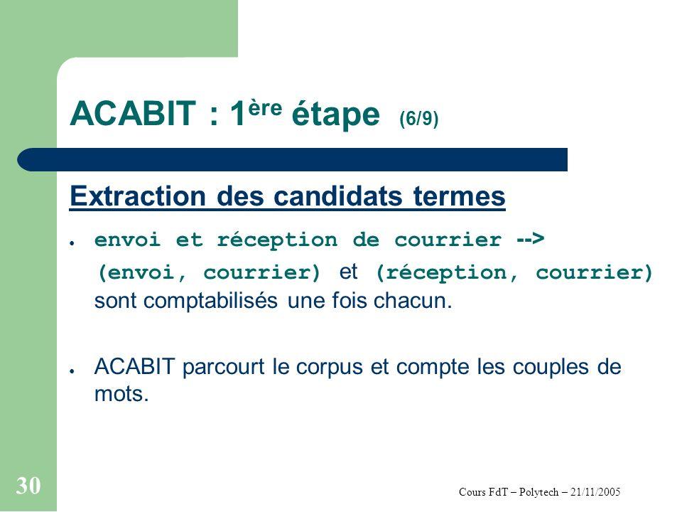 Cours FdT – Polytech – 21/11/2005 30 ACABIT : 1 ère étape (6/9) Extraction des candidats termes envoi et réception de courrier --> (envoi, courrier) et (réception, courrier) sont comptabilisés une fois chacun.