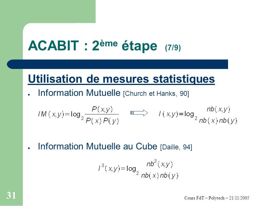 Cours FdT – Polytech – 21/11/2005 31 ACABIT : 2 ème étape (7/9) Utilisation de mesures statistiques Information Mutuelle [Church et Hanks, 90] Information Mutuelle au Cube [Daille, 94]