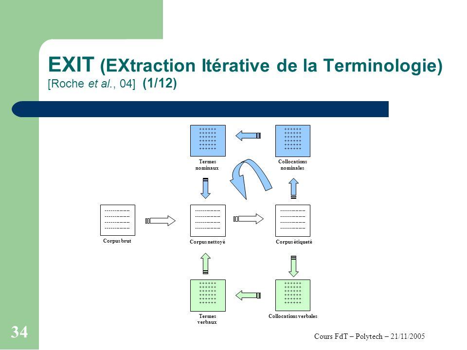 Cours FdT – Polytech – 21/11/2005 34 EXIT (EXtraction Itérative de la Terminologie) [Roche et al., 04] (1/12) Corpus étiqueté Collocations nominales + + + Termes nominaux + + + Termes verbaux Collocations verbales + + + Corpus brut -------------- -------------- Corpus nettoyé -------------- --------------