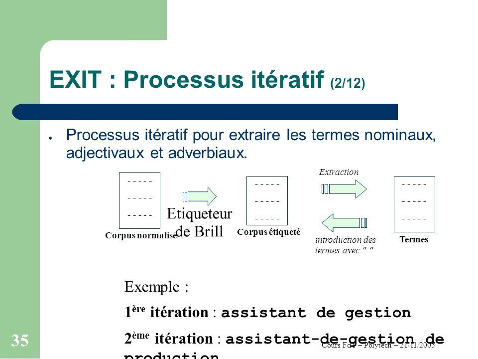 Cours FdT – Polytech – 21/11/2005 35 EXIT : Processus itératif (2/12) Processus itératif pour extraire les termes nominaux, adjectivaux et adverbiaux.