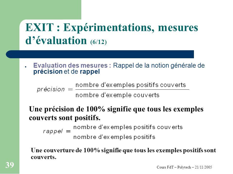 Cours FdT – Polytech – 21/11/2005 39 EXIT : Expérimentations, mesures dévaluation (6/12) Evaluation des mesures : Rappel de la notion générale de précision et de rappel Une couverture de 100% signifie que tous les exemples positifs sont couverts.