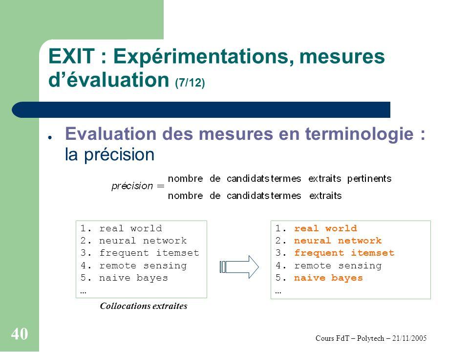 Cours FdT – Polytech – 21/11/2005 40 EXIT : Expérimentations, mesures dévaluation (7/12) Evaluation des mesures en terminologie : la précision 1.