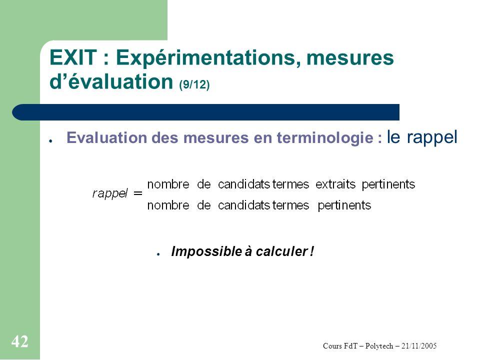 Cours FdT – Polytech – 21/11/2005 42 EXIT : Expérimentations, mesures dévaluation (9/12) Evaluation des mesures en terminologie : le rappel Impossible