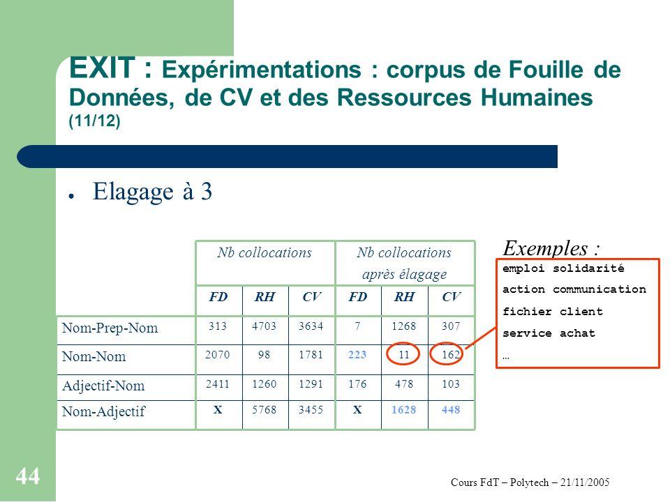 Cours FdT – Polytech – 21/11/2005 44 EXIT : Expérimentations : corpus de Fouille de Données, de CV et des Ressources Humaines (11/12) Elagage à 3 4481628X34555768X Nom-Adjectif 103478176129112602411 Adjectif-Nom 162112231781982070 Nom-Nom 3071268736344703313 Nom-Prep-Nom CVRHFDCVRHFD Nb collocations après élagage Nb collocations Exemples : emploi solidarité action communication fichier client service achat …